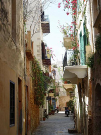 Traditional street in the old town of Chania
